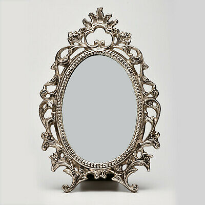 Marktsq Vintage Style Decorative Table Top Vanity Mirror In Silver Finish