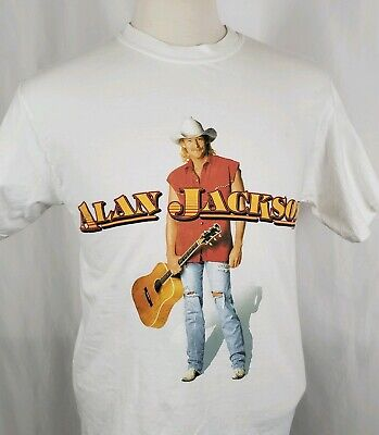 781390b8 Vintage 90s Alan Jackson Mens Medium T-Shirt White S/S Crew Hanes Cotton