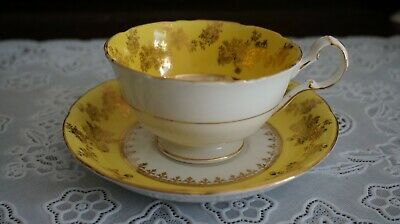 VINTAGE Royal Grafton Yellow Band Gold Flower Trim Cup and Saucer 6678, England