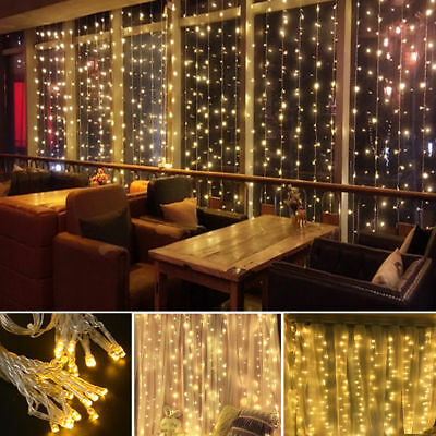 Fairy Curtain String Light Hanging Backdrop Wall Lamp Outdoor Indoor Home Decor