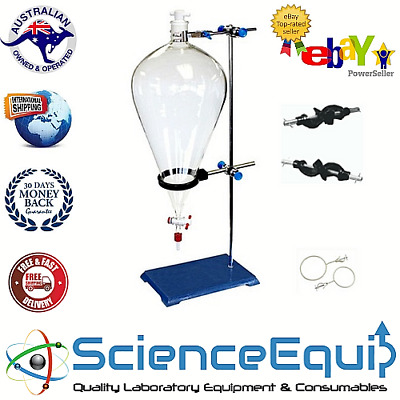 Separatory Separating Funnel Kit-GLASS Stopcock- 1000ml Funnel-Holder with Stand