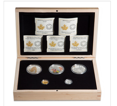 Canada 2014 Cougar 5-Coin Pure Gold, Platinum and Silver Set - No Tax