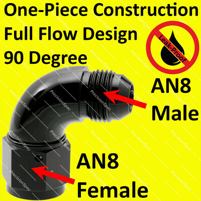 Black 543-08BLK 90 Degree Female To Male Flare Fitting AN8