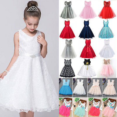 Girl Princess Dress Kids Summer Party Wedding Bridesmaid Formal Dresses 1-13Y
