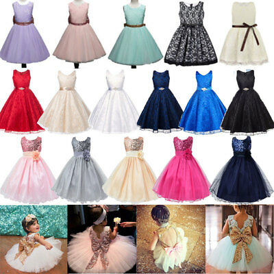 Flower Girl Baby Princess Dress Party Wedding Bridesmaid Formal Dresses 1-13Y