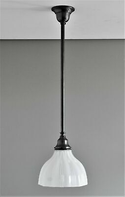 MAGILL-ONE LIGHT PENDANT-MATT BLACK-RAILWAY WHITE GLASS SHADE-hamptons bathroom