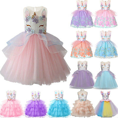 Girl Unicorn Summer Dress Kid Princess Wedding Bridesmaid Tulle Party Costume