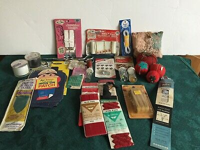 Lot of Vintage Sewing Notions--Needles-Thimble-Binding-Patches-Advertising