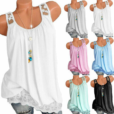 Womens Sleeveless Lace Tops Baggy Tank Vest Blouse T-Shirts Cami Size 6-22