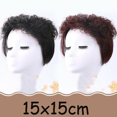 15*15CM 100% Remy Human Clip In Curly Hair Topper Hairpiece Toupee Top Piece