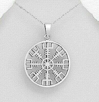 Viking Rune pendant 925 sterling silver Vegvisir Amulet Strength and Courage