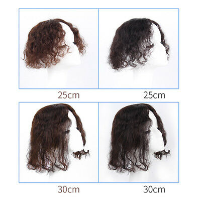 Clip In 100% Real Remy Human Hair Topper Toupee Women Handmade Curly Hairpieces
