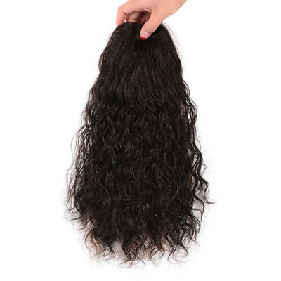 100% Human Hair Clip in Topper Wavy Curly Hairpiece Toupee Top Piece For Women