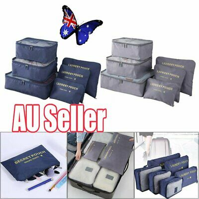 6Pcs Packing Travel Pouches Luggage Organiser Clothes Suitcase Storage Bag BO