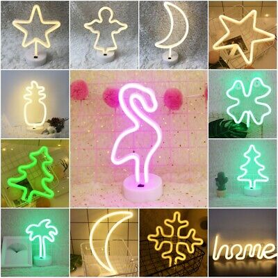UK LED Bedside Night Light USB Powered or Battery Neon Lamp Party Lights Decor