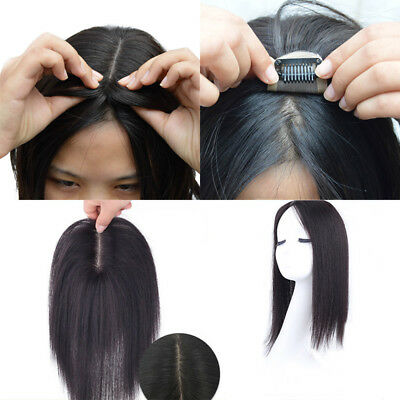 100% Handmade Woven Real Human Straight Hair Topper Hairpiece Clip in Toupee