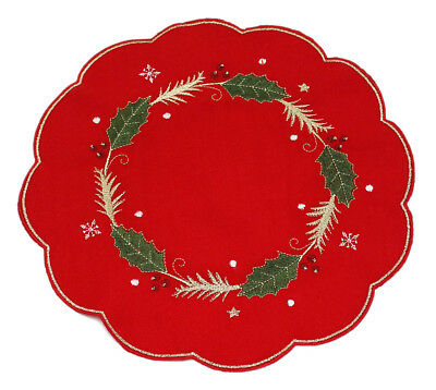 Enrapture Red Holly Christmas Napkins, Placemats, Table Runner or Tablecloths