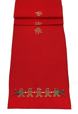 Gingerbread Friends Embroidered Christmas Table Linen - Table Runner or Napkins