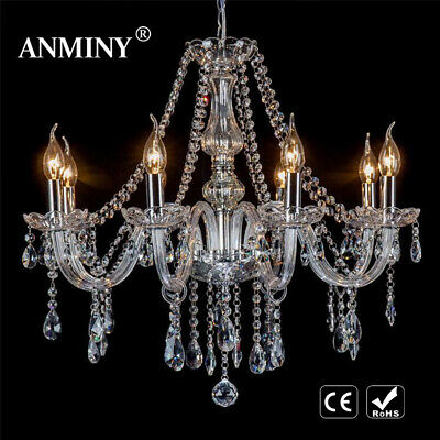 Clear Crystal 6 8 10 Arm Light Crystal Chandelier Ceiling Droplets Pendant Lamp
