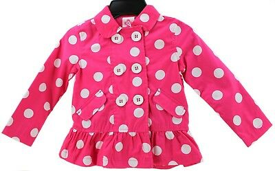JOHN LEWIS Girls Double Breasted SUMMER COAT Lightweight Lined PINK Polka Dot