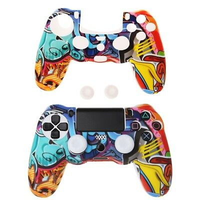 For PS4 Controller Multicolor Style Silicone Gamepad Cover Case + 2 Joystick Cap