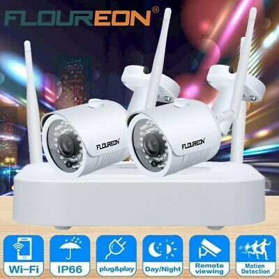 4CH Wireless 1080P CCTV DVR NVR Recorder WIFI IP Camera Home Security System KIT