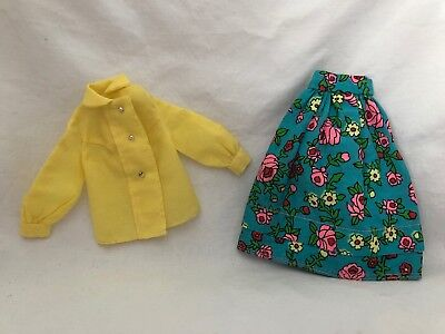 Vintage Barbie Doll Fashion Outfit 3407 MIDI MOOD Yellow Blouse TURQUOISE Skirt