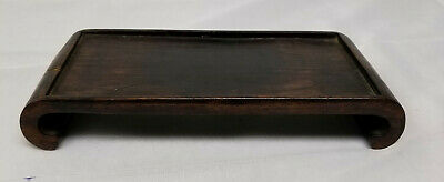 Antique Chinese Vintage Carved Hardwood Scroll Form Base Stand Rosewood Mahogany