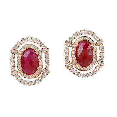 Valentine Gift 2.1ct Ruby Pave Diamond Stud Earrings 18k Solid Rose Gold Jewelry