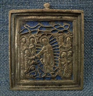 Antique 19th Century Russian Orthodox Brass & Enamel Icon Christ Anastasis