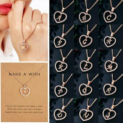 Fashion A-Z Crystal Initial Alphabet Letter Love Heart Pendant Necklace Card Hot