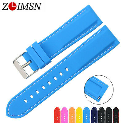 Replacement Watch Band Silicone Rubber Strap Quick Release Spring Bars 18 - 24mm