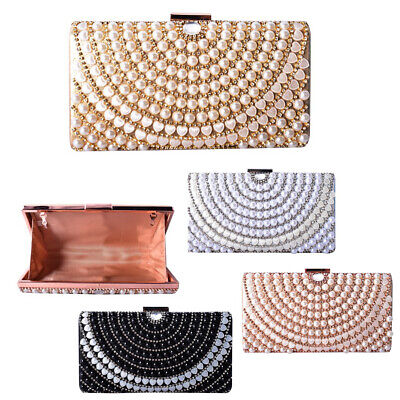 Ladies Pearl Gem Box Clutch Bag Girls Prom Party Bag Wedding Handbag Purse MMX92