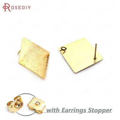 (33753)10PCS 19MM 24K Gold Color Brass Striped Rhombus Stud Earrings Pins