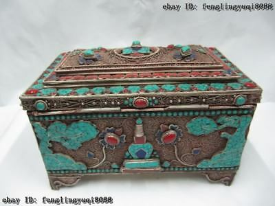 Tibet Folk Buddhism silver gilt Handwork inlay turquoise Red coral jewelry Box