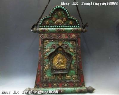 Tibet Copper Bronze handwork inlay turquoise Red coral ruby beryl TangKa Shrines