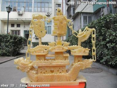 Chinese exquisite Yellow Jade fengshui Carved Dragon Boat ship Statue