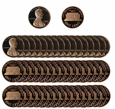 1980 Gem Proof Lincoln Cent Roll - 50 US Coins