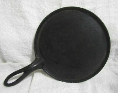 Antique Cast Iron Flat Griddle Shallow Skillet w/ Gate Mark & Heat Ring