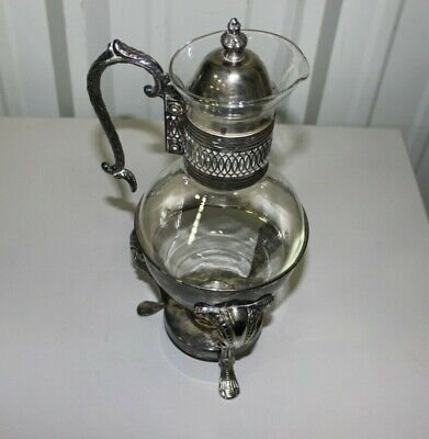Leonard Silverplate Glass Pitcher and Stand