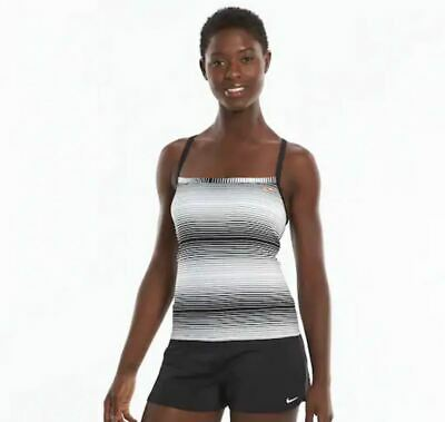 23d09f82118 NWT WOMEN'S NIKE Striped Racerback Tankini Top Choose Size Black/White