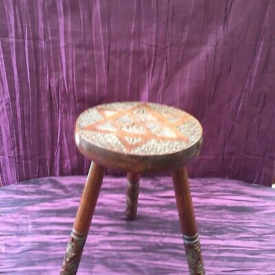Small Carved Wooden Milking Stool/ Display Or Plant Stand