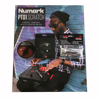 Numark PT-01 Scratch Portable DJ Turntable fitted Mini innoFADER Pro Crossfader