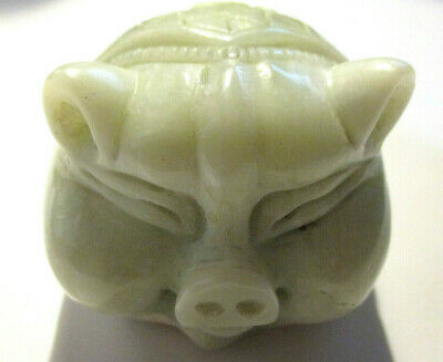 Antique Chinese Asian Celadon Green Jadeite Jade Carved Lucky Pig Statue/ Figure