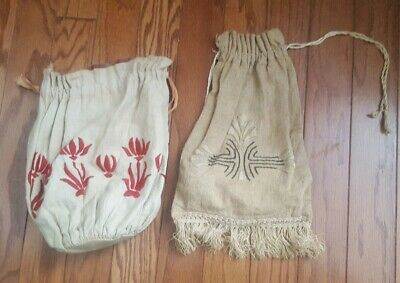 ANTIQUE ARTS CRAFTS MISSION STYLE STICKLEY ERA EMBROIDEREDBags