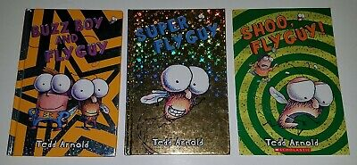 3 Fly Guy Book Lot Tedd Arnold Paperback Hardcover Shoo Buzz Boy Super