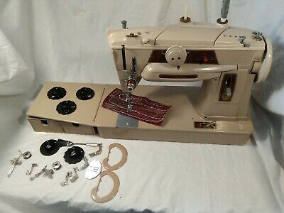 Singer 401g  SLANT O MATIC SEWING MACHINE SERVICED ,VIDEO SEWS LEATHER STUNNING""