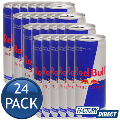 24 x RED BULL ENERGY DRINK CAN CAFFEINE TAURINE B-GROUP VITAMINS SUGARS 250mL