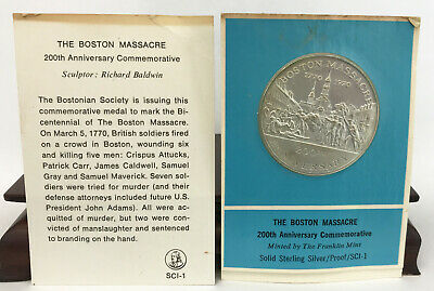 1970 Franklin Mint Sterling Silver Commemorative Medal Boston Masacre