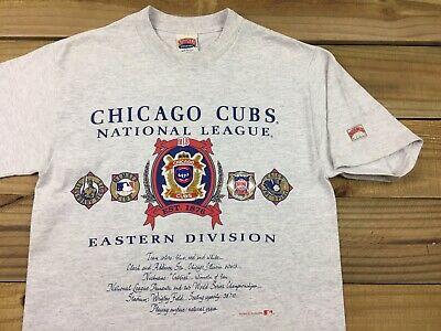 263da7ac1 VTG 90s 1991 Nutmeg Mills Chicago Cubs Patch National League T-Shirt L MLB